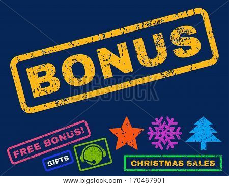 Bonus text rubber seal stamp watermark with bonus christmas symbols. Tag inside rectangular shape with grunge design and dust texture. Slanted vector bright multicolored ink sign on a blue background.