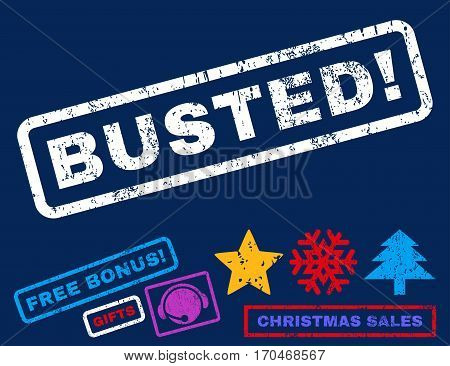 Busted text rubber seal stamp watermark with bonus new year symbols. Tag inside rectangular banner with grunge design and dust texture.