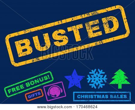 Busted text rubber seal stamp watermark with additional bonus christmas symbols. Caption inside rectangular banner with grunge design and scratched texture.