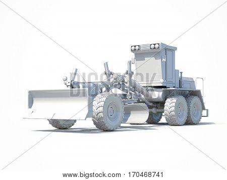 3d render: White Motor Grader Road Construction Industrial Machine