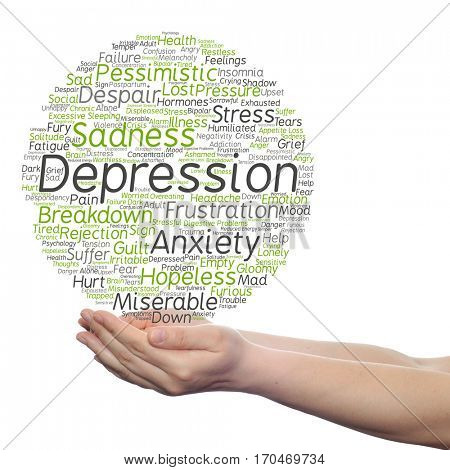 Concept conceptual depression mental emotional disorder abstract word cloud held in hands isolated on background metaphor to anxiety sadness negative sad problem, despair, unhappy, frustration symptom