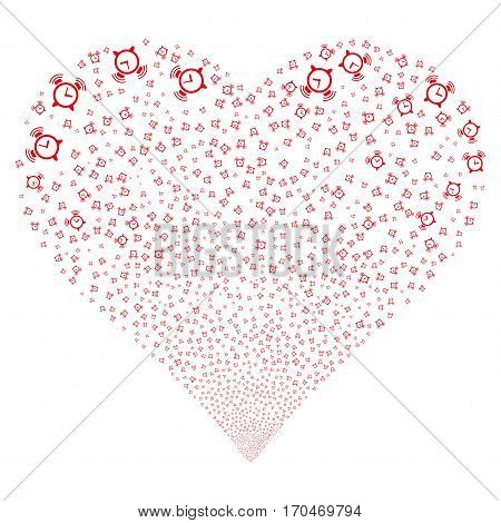 Buzzer fireworks with heart shape. Vector illustration style is flat red iconic symbols on a white background. Object heart combined from scattered design elements.