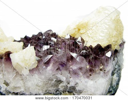 amethyst semigem geode crystals with calcite geological mineral isolated