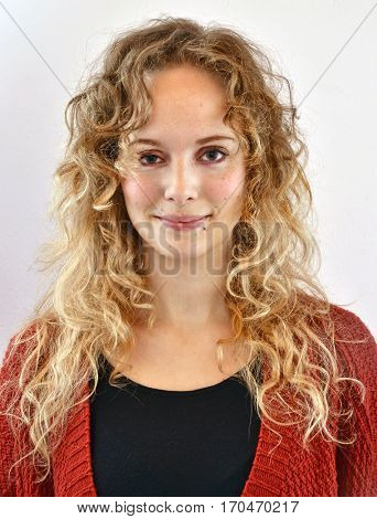 Satisfaction curly hair blonde woman portrait