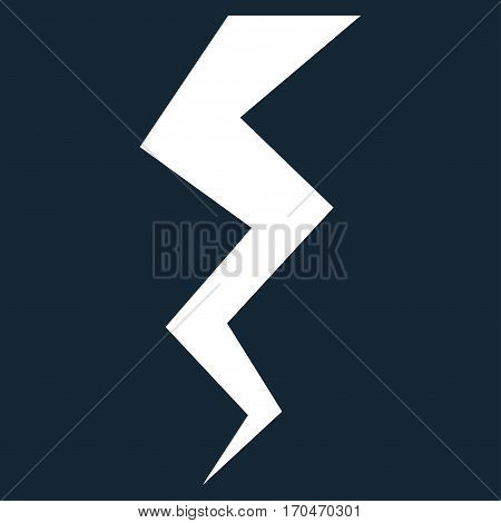Thunder Crack vector icon symbol. Flat pictogram designed with white and isolated on a dark blue background.