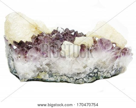 amethyst with calcite semigem geode crystals geological mineral isolated