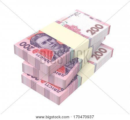 Ukrainian money isolated on white background. 3D illustration.