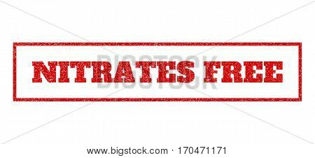 Red Rubber Seal Stamp With Nitrates Free Text. Vector Caption Inside Rectangular Frame. Grunge Desig