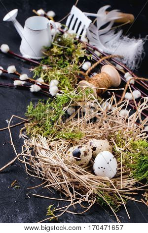 Easter Composition With Quail Eggs