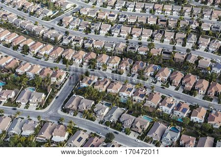 Aerial view of Stevenson Ranch homes and streets in Los Angeles County California.