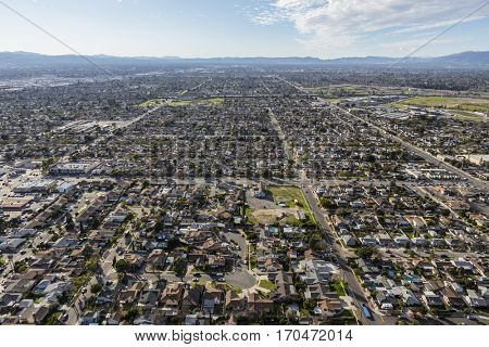 Aerial view of the Sun Valley community in the San Fernando Valley region of Los Angeles, California.