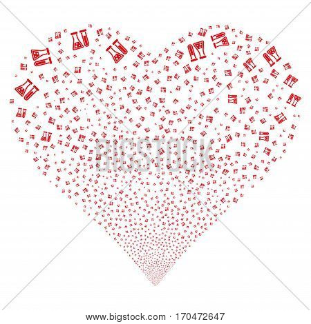 Chemistry fireworks with heart shape. Vector illustration style is flat red iconic symbols on a white background. Object love heart created from scattered pictographs.