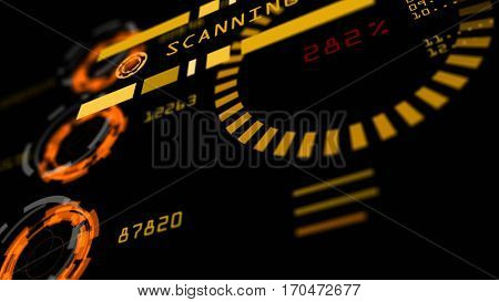 Abstract advanced technology control panel user interface. 3D rendering