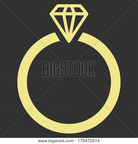 Diamond Ring vector icon symbol. Flat pictogram designed with khaki yellow and isolated on a gray background.