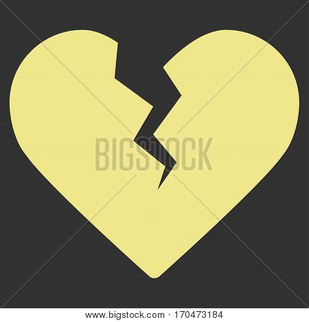 Divorce Heart vector icon symbol. Flat pictogram designed with khaki yellow and isolated on a gray background.