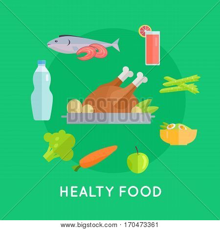 Healthy food vector concept in flat style. Chicken, fish, carrot, apple, asparagus, beverage, broccoli, salad illustrations for restaurant, shop, food delivery services ad, prints logo menu design