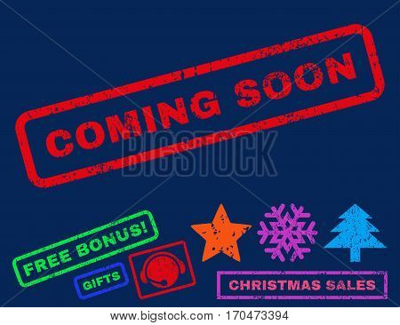 Coming Soon text rubber seal stamp watermark with additional bonus christmas symbols. Tag inside rectangular banner with grunge design and unclean texture.