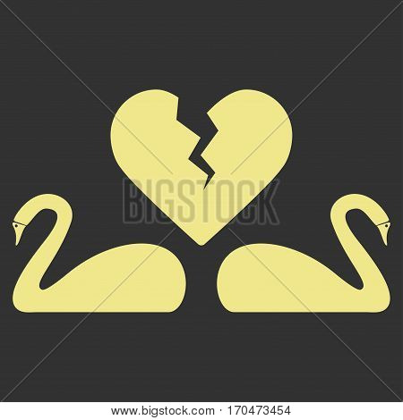 Divorce Swans vector icon symbol. Flat pictogram designed with khaki yellow and isolated on a gray background.