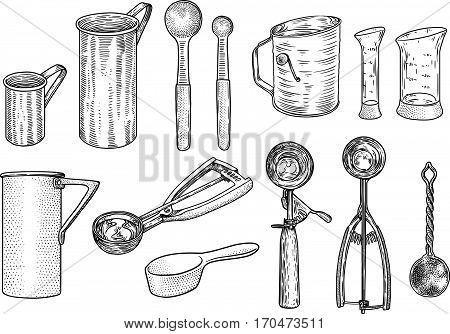 Kitchen utensil set illustration, drawing, engraving, line art