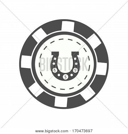 Gambling chip vector in monochrome. Black casino chip with horseshoe sign. Illustration for gambling industry, sport lottery services, icons, web pages, logo design. Isolated on white background.