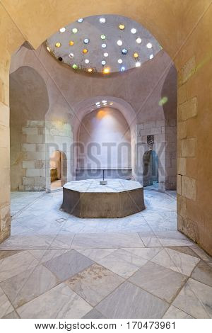 Interior of historical traditional bathhouse (Hamam Inal), Medieval Cairo, Egypt