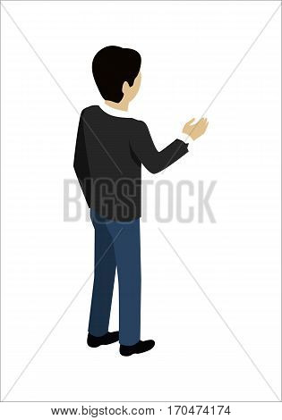 Young man shaking hands. Man with black hair in blue pants and black sweater. Isometric image man standing. Isolated object in flat design on white background.