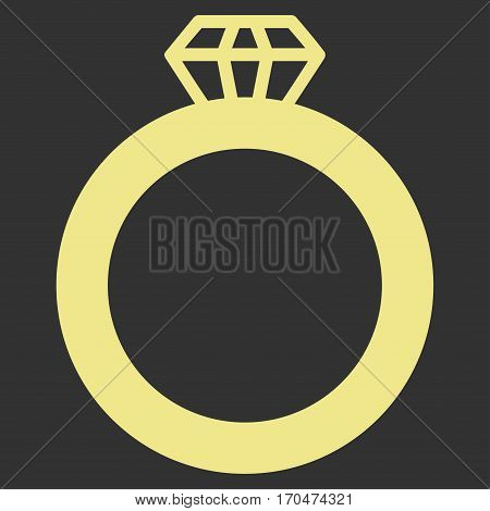 Gem Ring vector icon symbol. Flat pictogram designed with khaki yellow and isolated on a gray background.