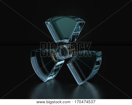 Glass Radiation Symbol  3D Illustration