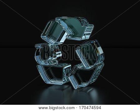 Glass Recycle Symbol  3D Illustration