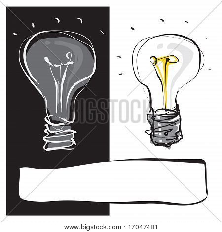 Two Light-bulbs Black & White hand drawn style