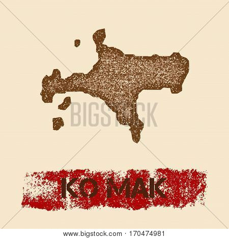Ko Mak Distressed Map. Grunge Patriotic Poster With Textured Island Ink Stamp And Roller Paint Mark,