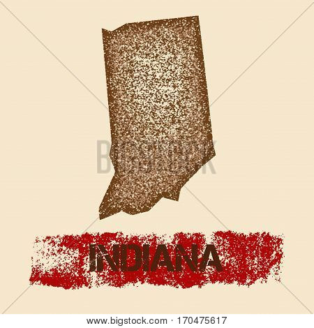 Indiana Distressed Map. Grunge Patriotic Poster With Textured State Ink Stamp And Roller Paint Mark,