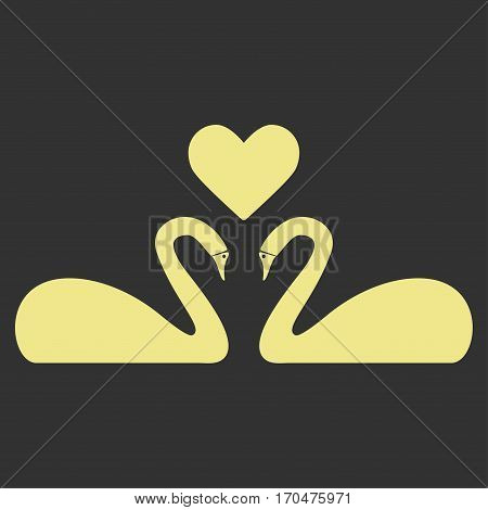 Love Swans vector icon symbol. Flat pictogram designed with khaki yellow and isolated on a gray background.
