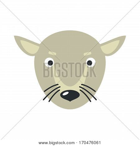 Rat or mouse face vector. Flat design. Animal head cartoon icon. Illustration for nature concepts, children s books illustrating, printing materials, web. Funny mask or avatar. Isolated on white