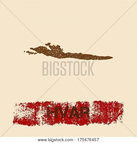 Hvar Distressed Map. Grunge Patriotic Poster With Textured Island Ink Stamp And Roller Paint Mark, V