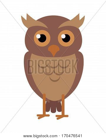Owl flat style vector. Wild night predatory bird. World fauna species. Eagle-owl cartoon character. For nature concepts, children s books illustrating, printing materials. Isolated on white background