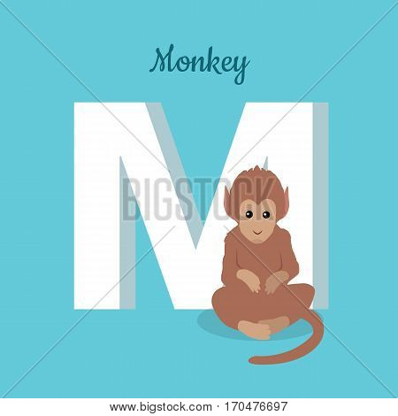 Animals alphabet. Letter - M. Brown monkey sits near letter. Alphabet learning chart with animal illustration for letter and animal name. Vector zoo alphabet with cartoon animal on blue background