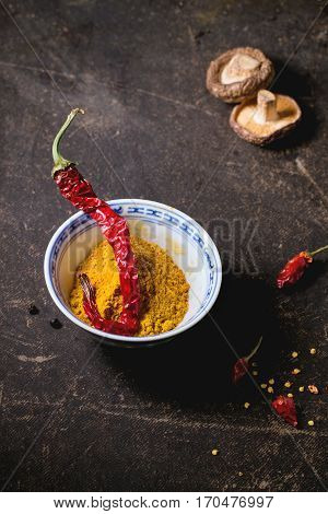 Tumeric Powder And Red Hot Chili Pepper