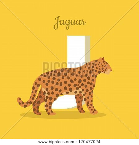 Animals alphabet. Letter - J. Spotted jaguar near letter. Alphabet learning chart with animal illustration for letter and animal name. Vector zoo alphabet with cartoon animal on orange background