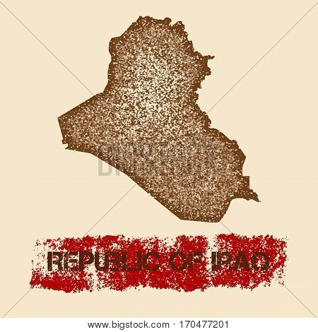 Republic Of Iraq Distressed Map. Grunge Patriotic Poster With Textured Country Ink Stamp And Roller