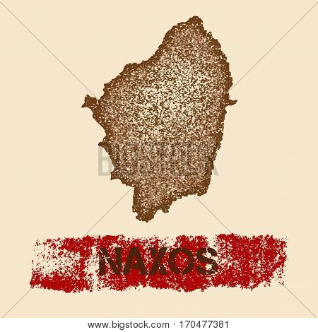 Naxos Distressed Map. Grunge Patriotic Poster With Textured Island Ink Stamp And Roller Paint Mark,
