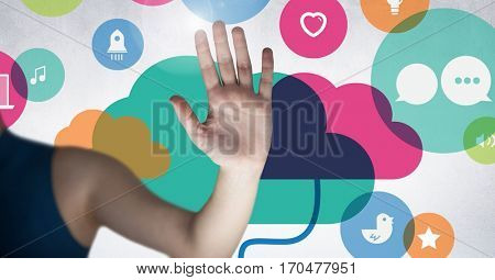 Digitally generated image of womans hand against cloud computing icon