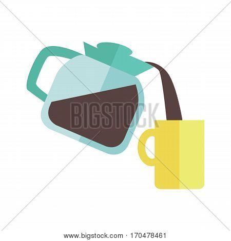 Blue coffee maker with yellow cup in flat design isolated on white background. Coffee pouring into cup. Coffee time, break time concept. Vector illustration.