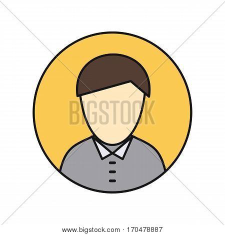 Young man private avatar icon. Young man in gray shirt. Social networks business private users avatar pictogram. Round line icon. Isolated vector illustration on white background.
