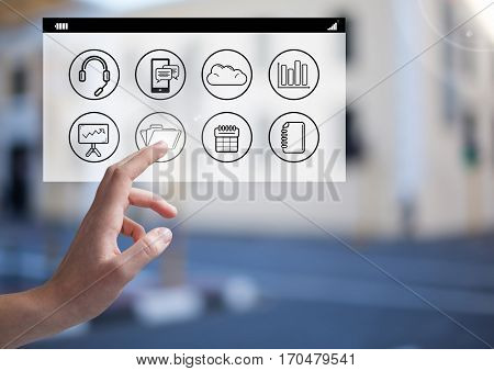 Close- up of woman hands touching digitally generated social networking icons