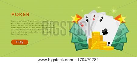 Pocker online games dice casino banners set. Four aces of diamonds spades hearts and clubs. Cards money coins chips. Gambling luck, fortune bet, risk and leisure, jackpot chance. Vector