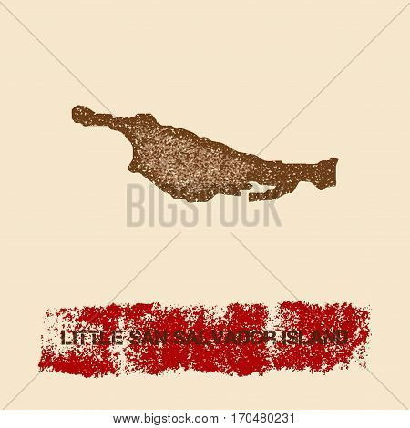 Little San Salvador Island Distressed Map. Grunge Patriotic Poster With Textured Island Ink Stamp An