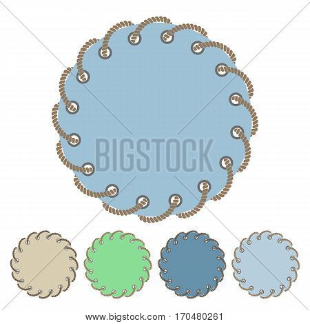 Vector set of round stickers and labels with the through holes twisted braided rope in a flat style. Collection of isolated elements. Design banners invitations greeting cards