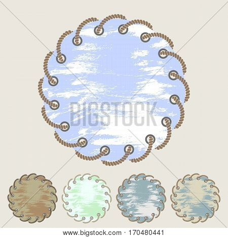 Vector set of round stickers and labels with the effect of rubbing with the through holes twisted braided rope in a flat style. Collection of isolated elements. Design banners invitations greeting cards