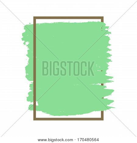 Dense vector green grunge texture brown frame isolated on white background. Treys drawn acrylic ink smear of paint. For the creative design of registration forms invitations signage promotional brochures